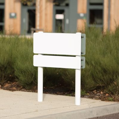 Ashby Plate - Post Mounted - Blank - Powder Coated White