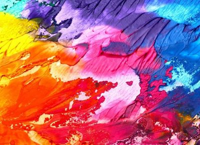 Acrylic paint on a canvas, all smudged together to create a colourful tie dye effect